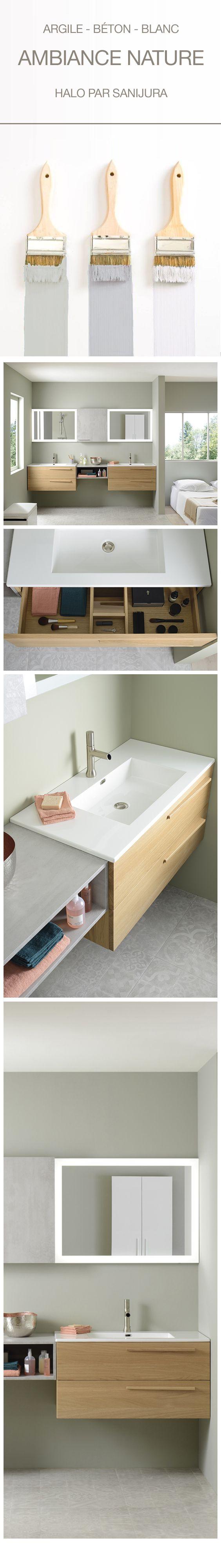 Choisissez des couleurs Nature pour décorer votre salle de bain. Argile, lin, blanc, gris, rose pâle, des teintes douces à associer avec un meuble en chêne naturel pour une ambiance zen et tendance. Les + déco : les miroirs avec bandeau LED pour apporter une lumière douce et diffuse, le tiroir avec modules de rangement pour que chaque accessoire retrouve facilement sa place. - halo de Sanijura