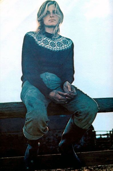 Linda McCartney in a yoked fair isle jumper.