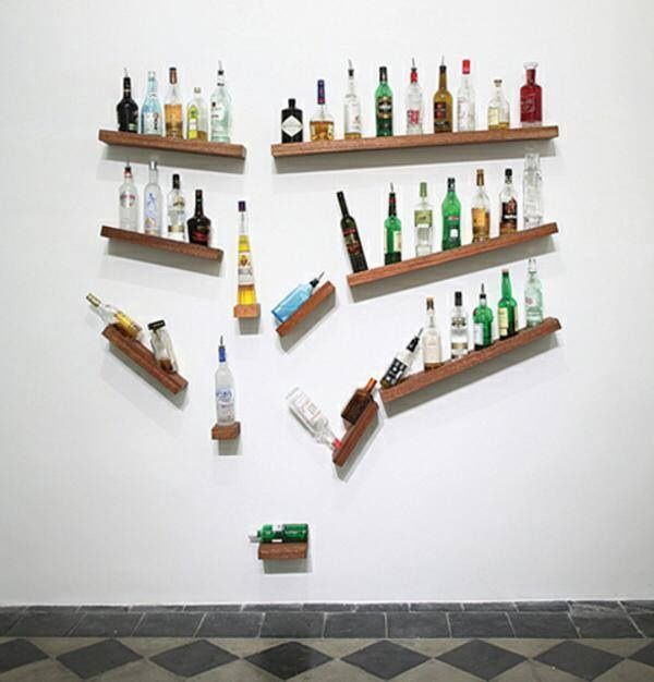 Falling bottles illusion shelves