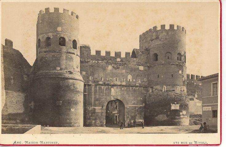 Italie, Roma, Porta San Paolo vintage albumen print, carte cabinet Tirage albuminé 10X15 Circa 1880