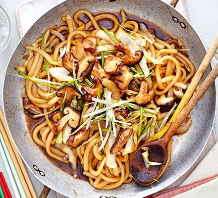 These thick wheat noodles with mushrooms and cabbage are made for slurping - a lovely low-fat, low-calorie vegetarian supper