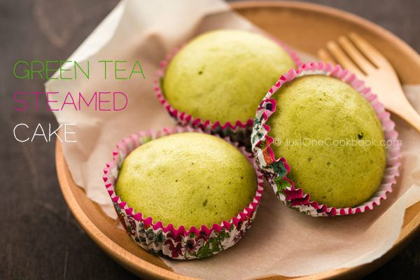 Green Tea Steamed Cake | JustOneCookbook.com - I made these last night.. if you like green tea (tea or ice cream) you will love these..and they are pretty simple. - Ang