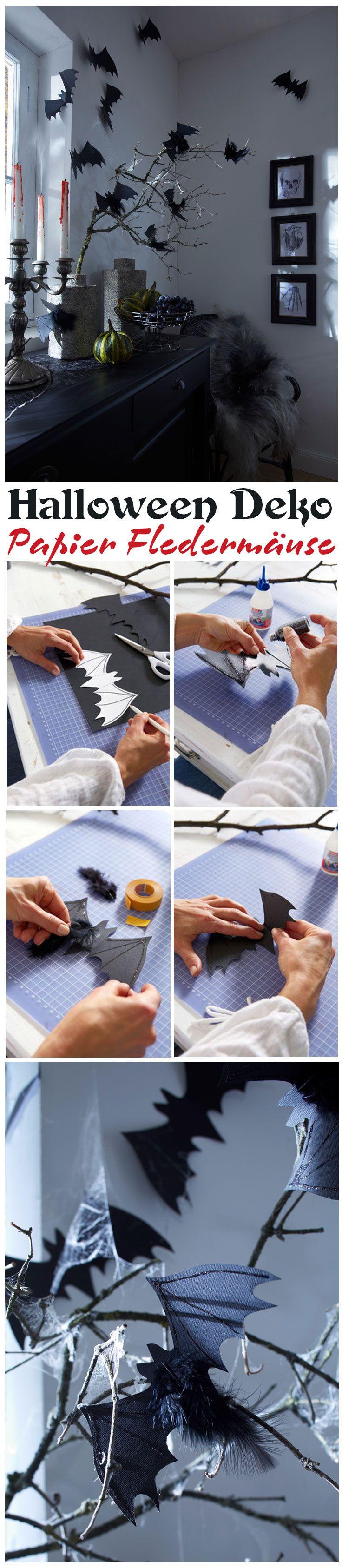 Wer gerne Halloween feiert, kommt um die passende Deko nicht herum. Die muss man sich nicht kaufen, sondern kann sie mit wenigen Handgriffen selbst basteln – so wie diese Fledermäuse aus Papier.