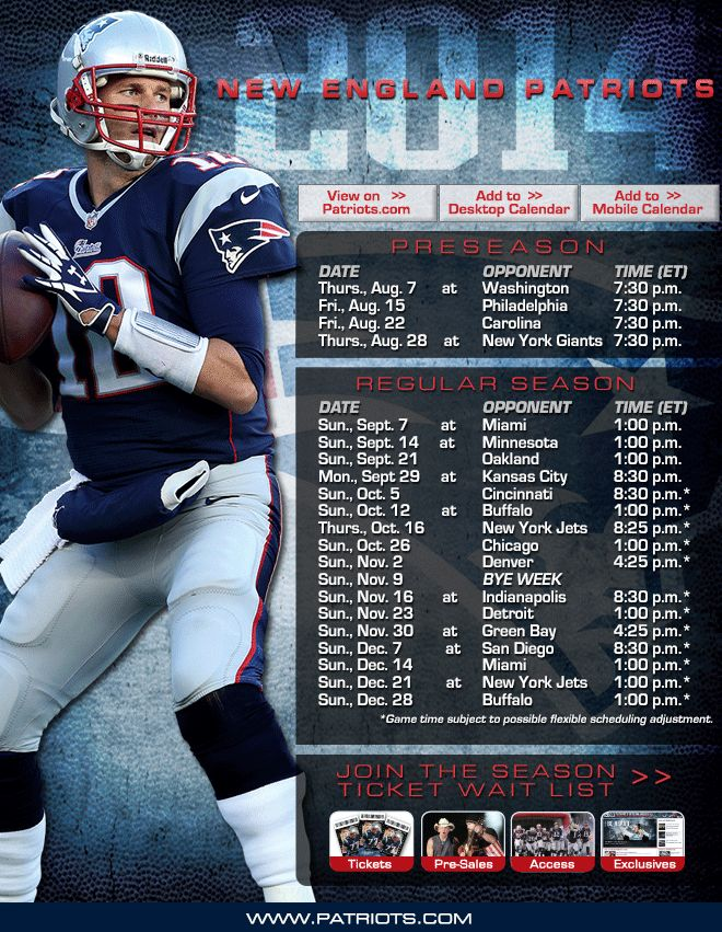 2014 Patriots Schedule. We are ready for action. Bring it on. !