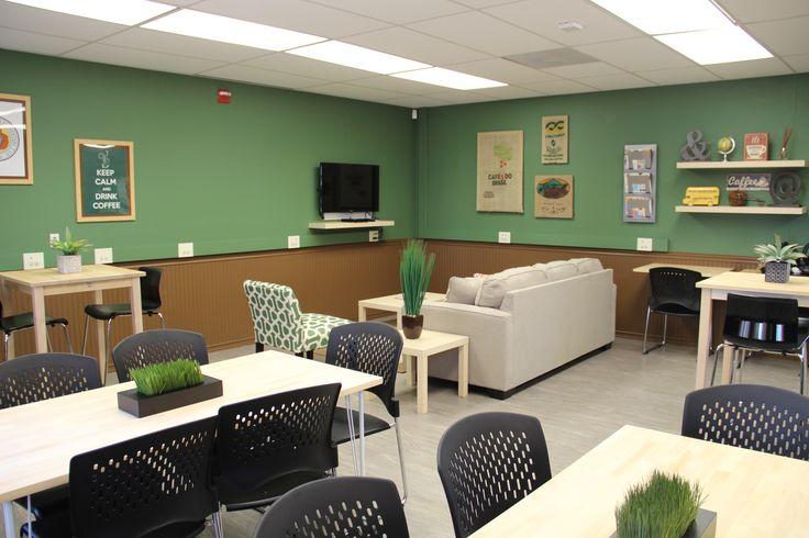 staff break room - flexible table arrangements. Neutral colors. Need more natural light.