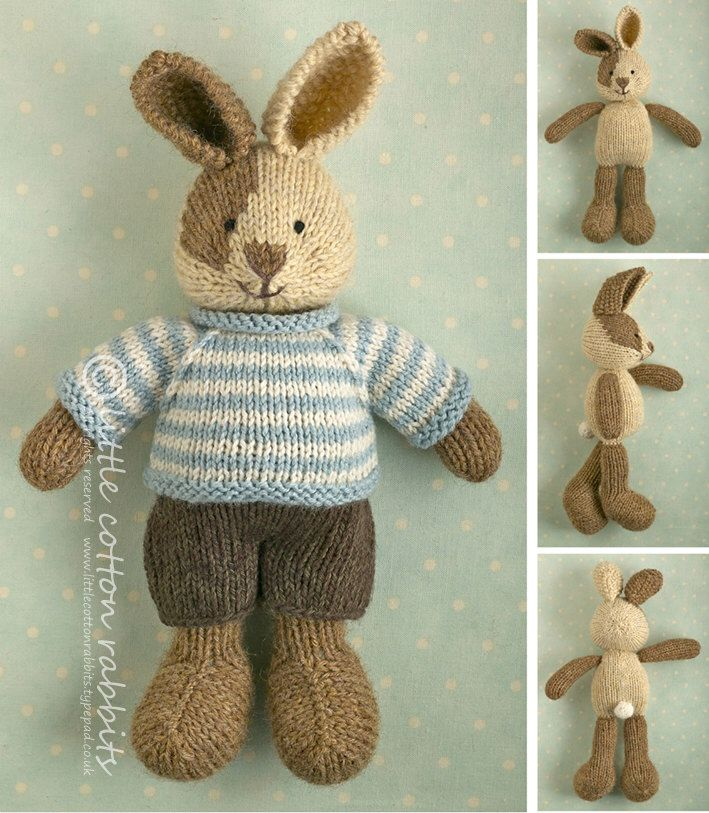 Toy knitting pattern for a bunny rabbit with a piebald patch, shorts and a stripy sweater by Littlecottonrabbits on Etsy https://www.etsy.com/listing/150814524/toy-knitting-pattern-for-a-bunny-rabbit