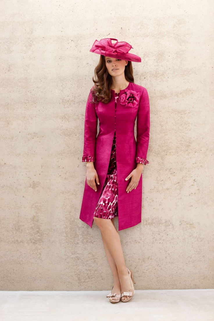 CONDICI COSMOPOLITAN PINK SILK COAT AND PEBBLE PRINT DRESS  WITH HAT.