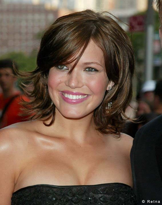 Mandy Moore shoulder length hair.  So cute, but my hair's probably too thick for this style.
