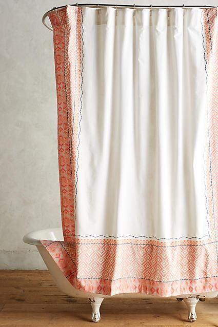 Orange and White Diamond Pattern Shower Curtain