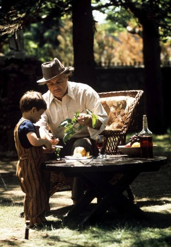 The Godfather; this is such a beautiful scene, and it seems much of it was improvised.  To compare it with how Michael meets his end shows just how different these Dons were.