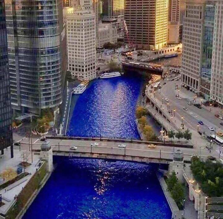 Chicago River turns blue to honor the Cubs on World Series Win, November 4, 2016