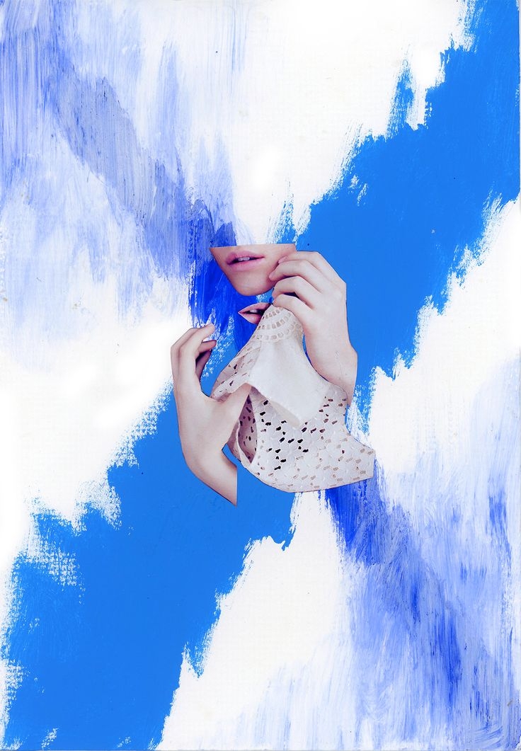 blue collage коллаж analog paper cut and paste acryl blue mitry.grankov 2015