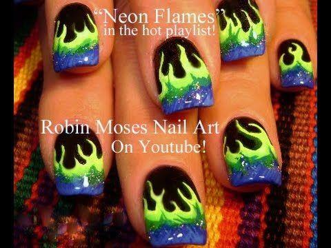 Easy Nail Art Designs | DIY Neon Flames Nails Tutorial - YouTube