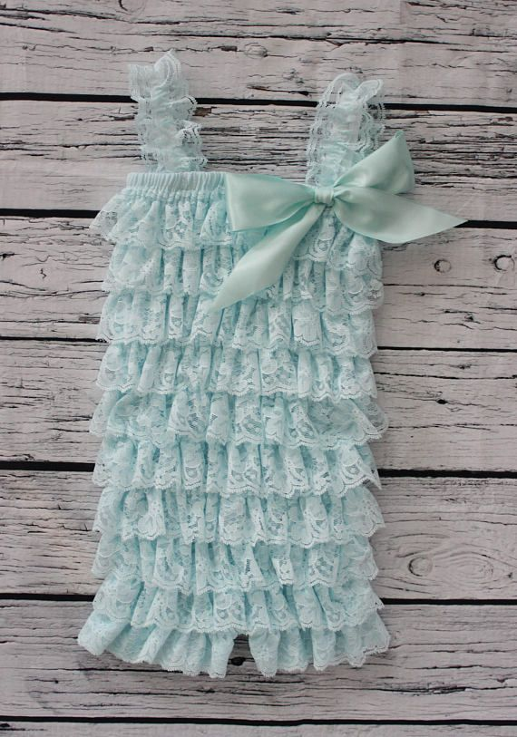 First Birthday Outfit Beautiful Blue with Aqua Ribbon Lace