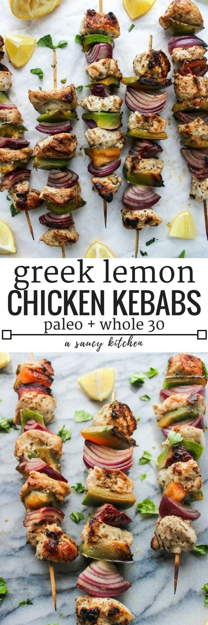 Greek inspired Lemon Chicken Kebabs made on the stove top  | Paleo + Whole 30