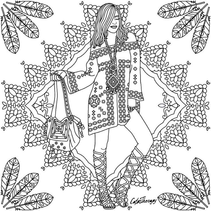 299 best Fashion Coloring Pages for Adults images on Pinterest ...