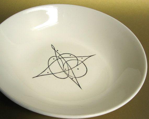 Mid Century Stetson Atomic Age Serving Bowl Black Amp White
