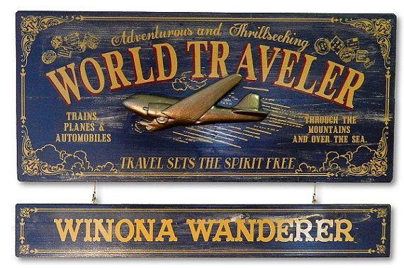 World Traveler Airplane Vintage Plank Nameplate Sign by KandKSales
