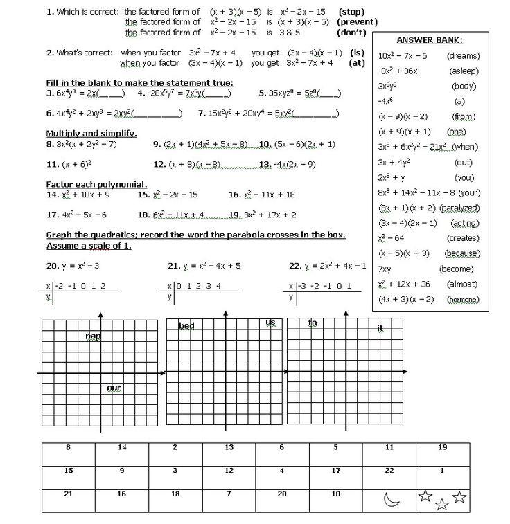 Factoring Trinomials Joke Worksheet - Kidz Activities