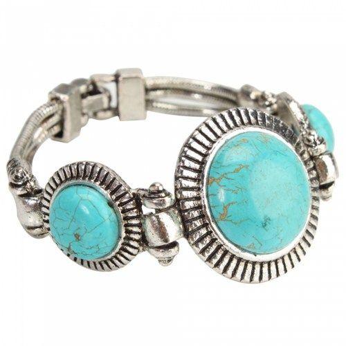 Three Round Pattern Turquoise Bracelet 09 | favwish - Jewelry on ArtFire