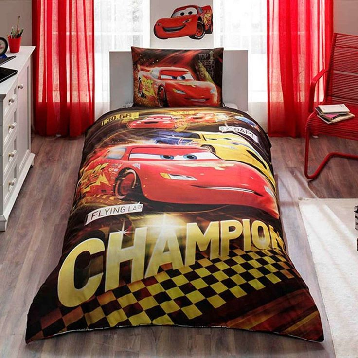 Disney Cars Champions 3 Pcs Twin / Single Size %100 Cotton Duvet Cover Set Bedding Linens //Price: $41.27 & FREE Shipping //     #hashtag4