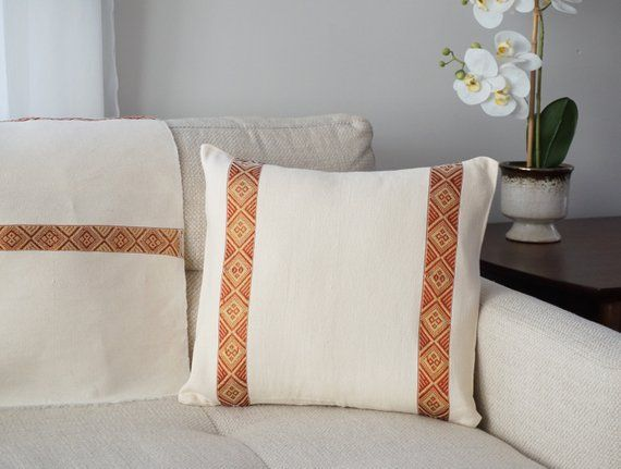 Ethiopian Handmade Hand Woven Decorative Pillow Insertable Cushion