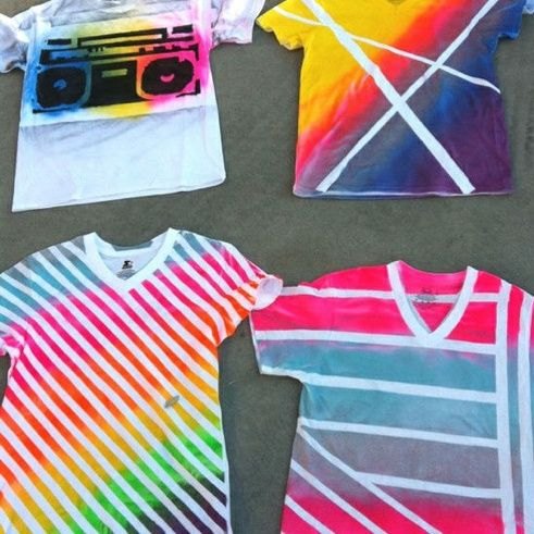 Neon Striped T-shirt DIY at Go Radio you-can-do-it-put-your-craft-into-it