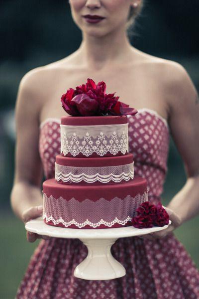 Burgundy and White wedding cake!