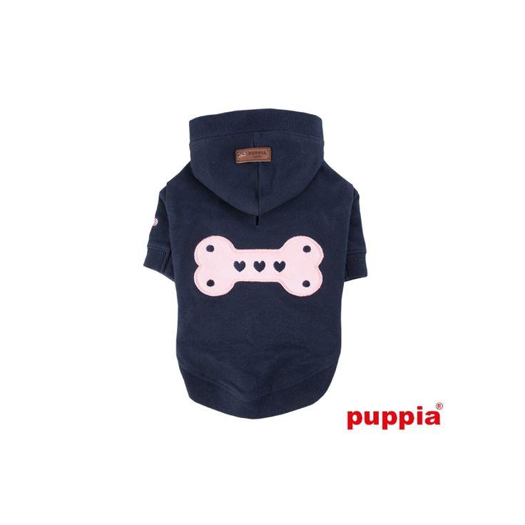 Sudadera BONEZ NAVY   con capucha para perro. Azul marino y hueso rosa, 100% algodón, marca Puppia. bit.ly/1YUtgXi