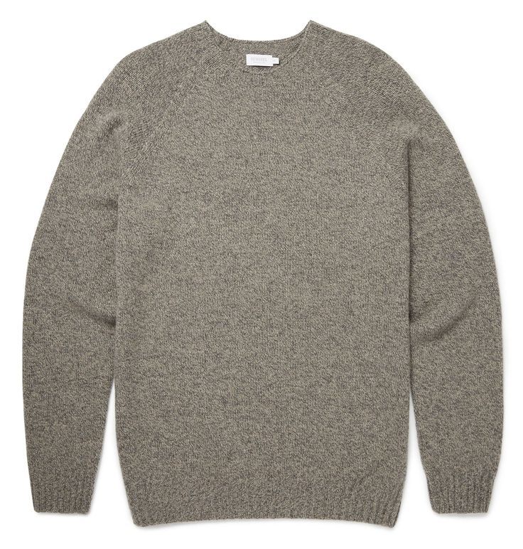 This soft lambswool jumper is knitted in Scotland on a circular knitting machine which means a smooth, seamless construction. The two-ply yarn is spun in Scotland, with an exclusive selection of colours twisted together to give a rich hue. Once knitted
