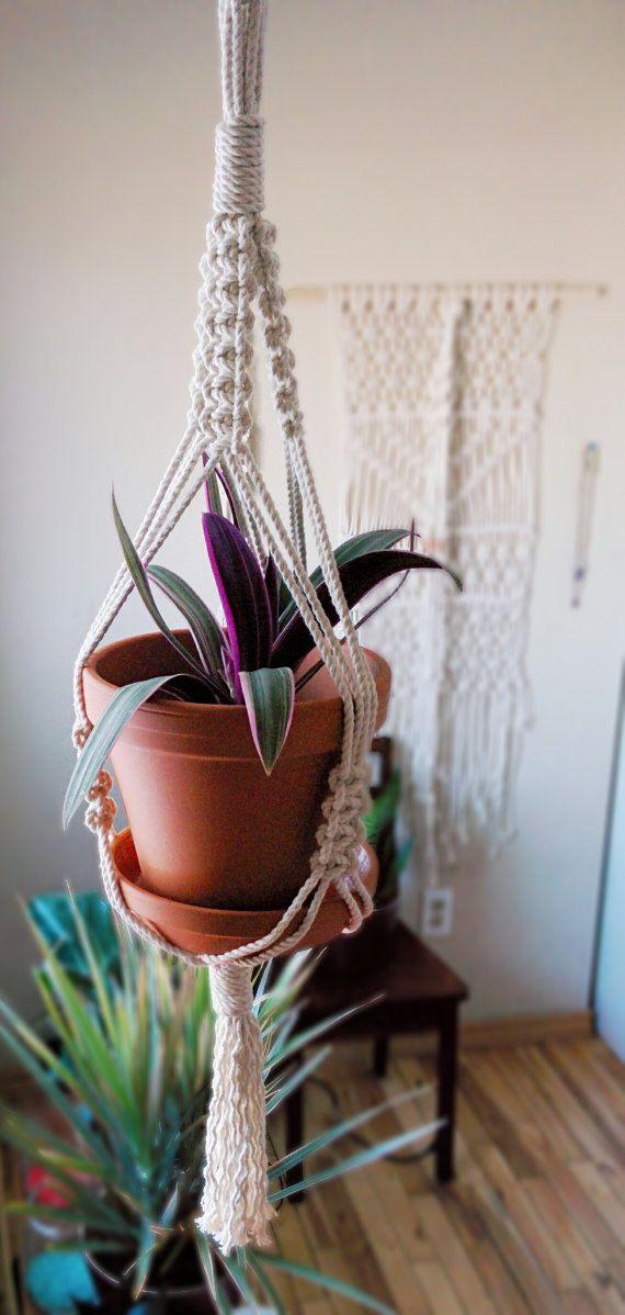 Macrame plant hanger - small hanging planter - white/cream plant hanger - simple hanger