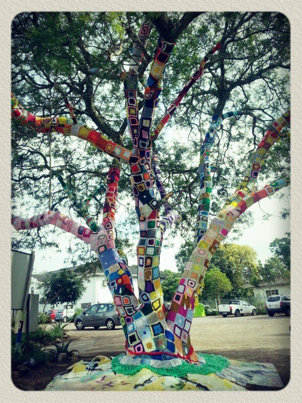 This was our 2012 World AIDS Day project, the largest yarnbombed tree in Africa! www.hillaids.org.za