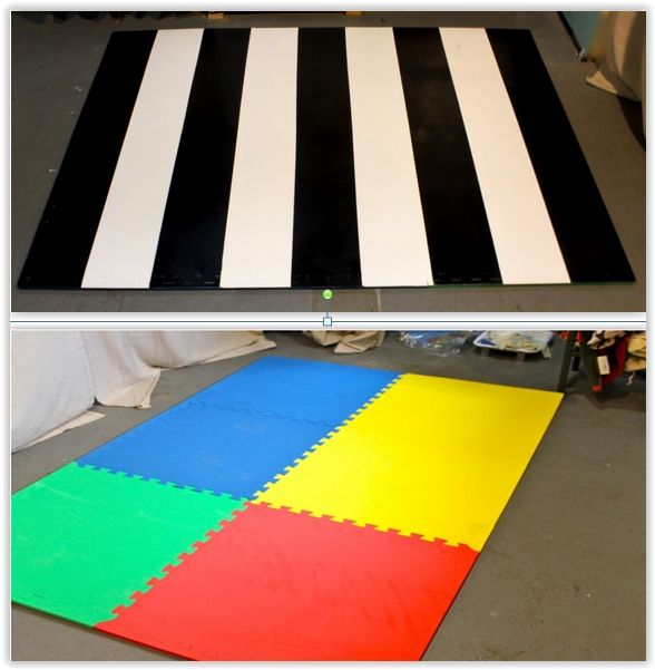 Striped Painted Foam Rug ...using a foam play mat ... after priming, she painted her pattern with latex paint. She finished it off with Rust-Oleum Crystal Clear Enamel Spray Paint .............. #DIY #rug #foammat #primer #paint #acrylicpaint #polyacrylic #clearenamelspray #howto #tips #kitchen #bedroom #livingroom #decor #crafts