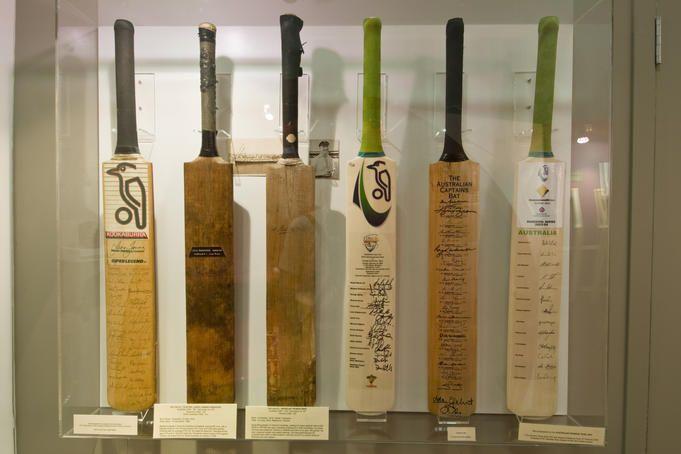 Crickert bats at Tasmanian Cricket Museum, Bellerive.