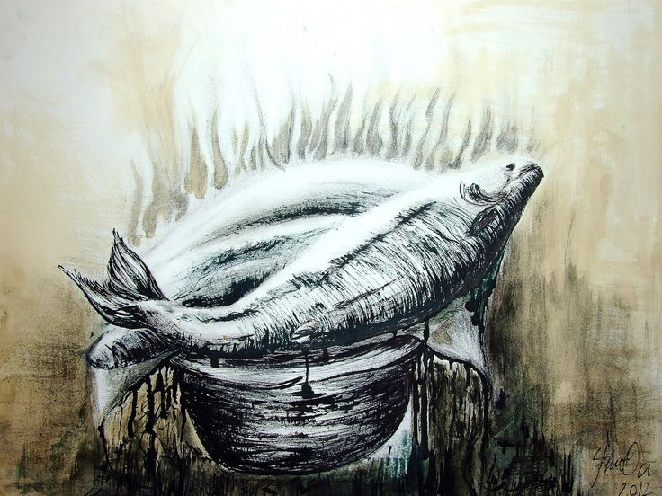 """The Fish"" charcoal, ink and coffee on paper/ cărbune, cafea și tuș pe hârtie, size/ dimensiuni: W: 49 cm/ H: 29, 5 cm"
