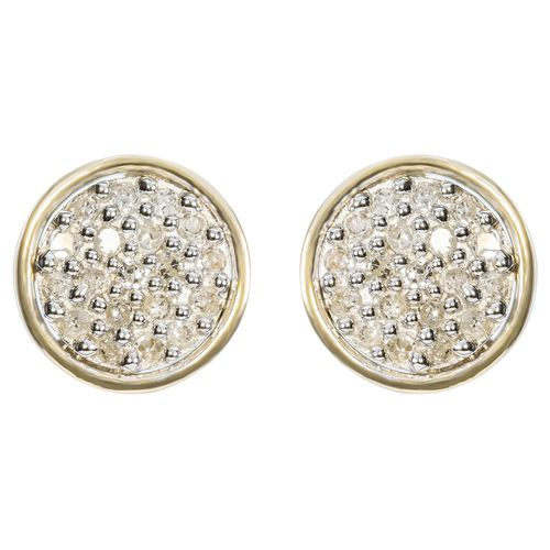 9ct Yellow Gold Round Pave Diamond Studs only $155 - purejewels.com.au