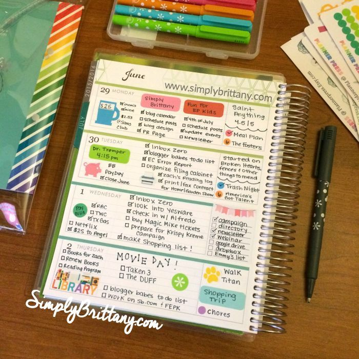 Erin Condren Horizontal Spread with stickers from Planner Press.