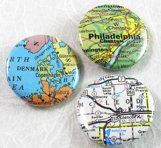 Craft Ideas With Maps | Craft Ideas / Custom Map Pinback Button - Choose a map, by XO ...
