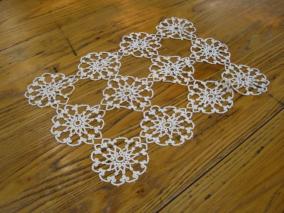 Antique Tatted Doily Rectangle Flower Motif by BeautifulPurpose