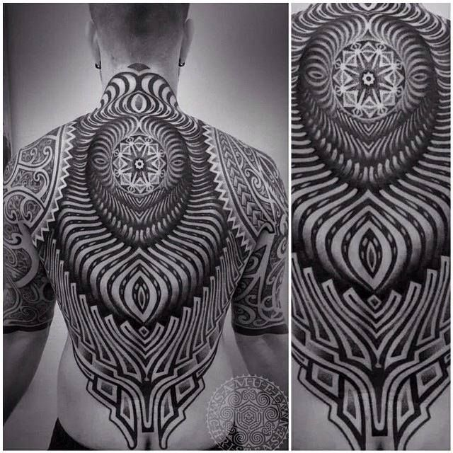 Intricate back and half sleeves by Samuel Christensen.