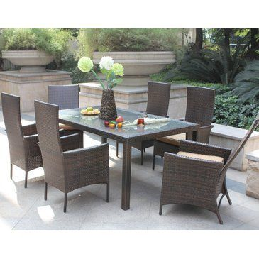 Toulouse 7 Piece Patio Dining Set With Adjustable High
