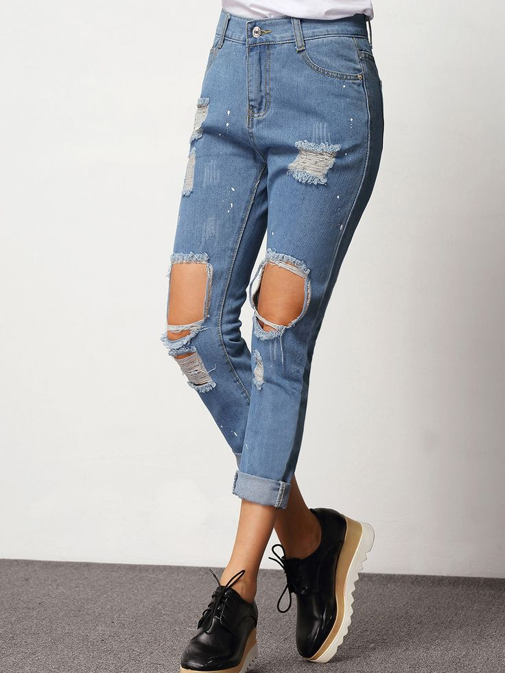Shop Blue Ripped Slim Denim Pant online. SheIn offers Blue Ripped Slim Denim Pant & more to fit your fashionable needs.