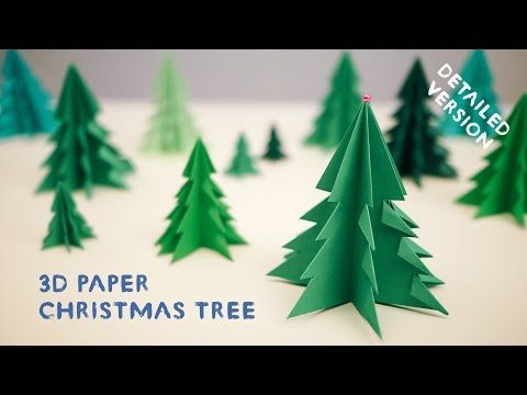 How to Make 3D Paper Christmas Tree - All steps - DIY