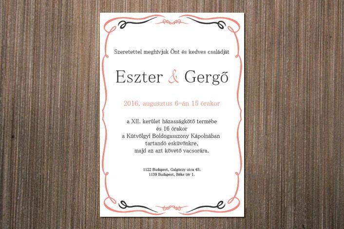 Classic Wedding Invitation, Wedding Invitation, Invitation wiht border, Pink border wedding invitation