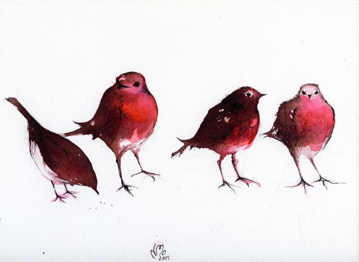 ARTFINDER: The Ink Spots by Nancy Moniz Charalambous - Four little Robins drawn with inks on Saunders Waterford classic watercolour paper. This is actually a composition of the same bird I was observing as the ro...