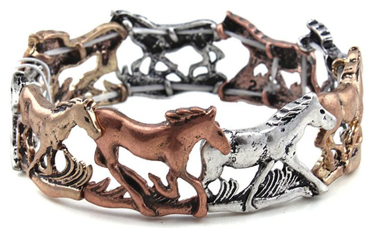 Alternating Horse Design Tri-tone bracelet in antiqued gold, silver and copper