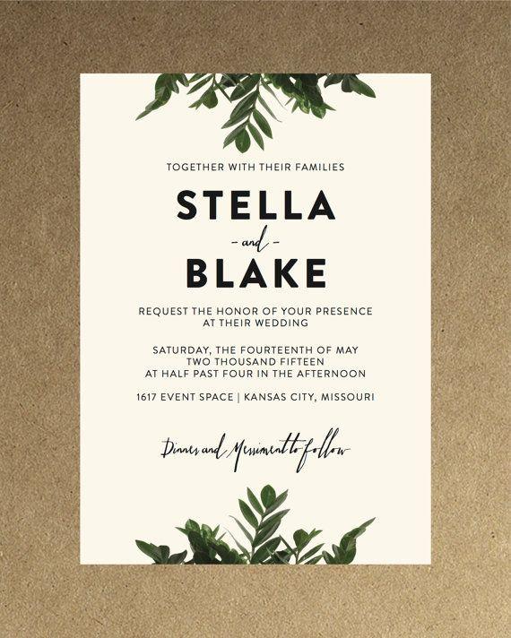 Invitación de la boda verde botánica moderna / por blacklabstudio