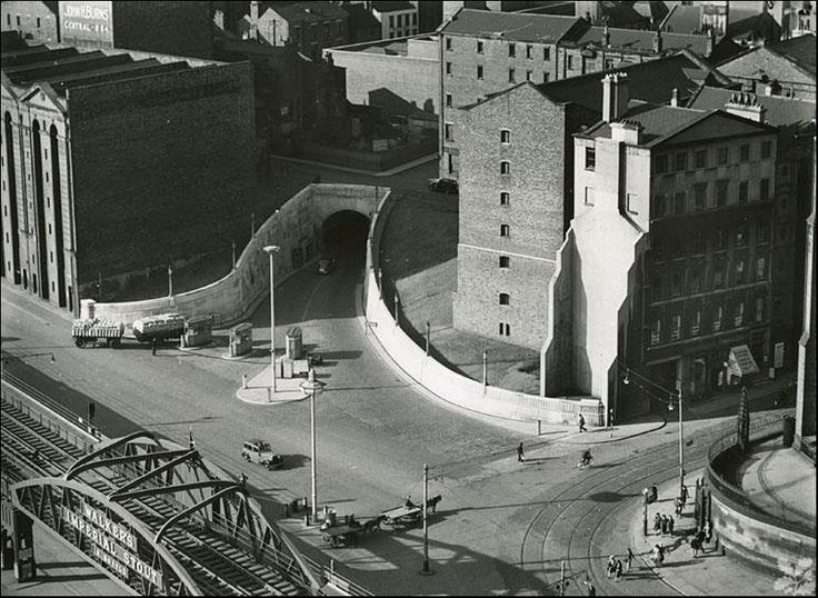 Dock entrance in the 1940s before the overhead railway was demolished.