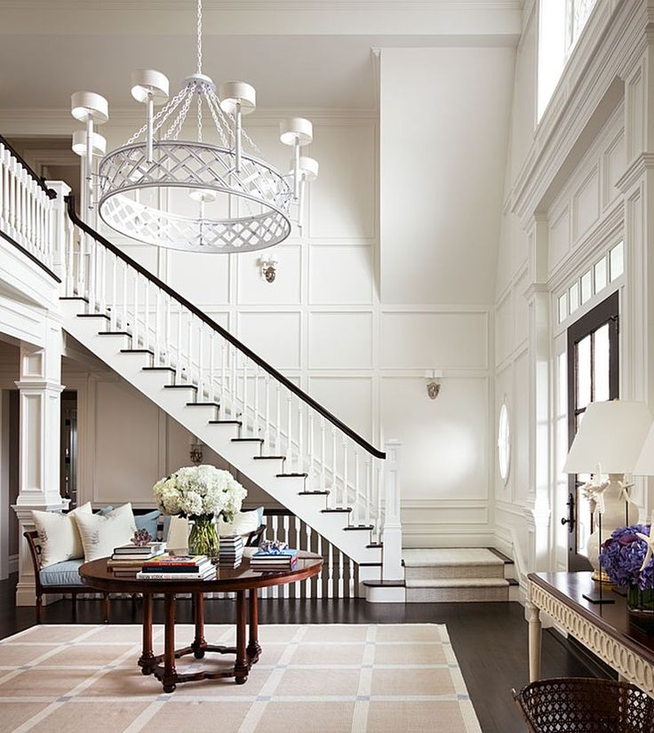 Elegant Foyer Stair Wraps A Paneled Two Story Entry Hall: Hamptons House, House, Home
