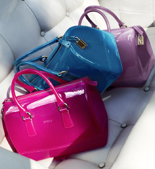 Furla, Candy satchel in bright pink, teal, and lilac, 198.00 each. >> Bloomingdales.com